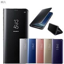 Зеркало заднего вида Смарт флип чехол для samsung Galaxy A6 A7 A8 A9 J4 J6 S8 S9 плюс J8 A20 30 J2 Core J5 J7 Neo S7 края крышки