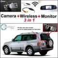 3 in1 Специальный Камера Заднего Вида + Беспроводной Приемник + зеркало Монитор DIY Система Парковки Для Mitsubishi Pajero Pajero Супер превышать