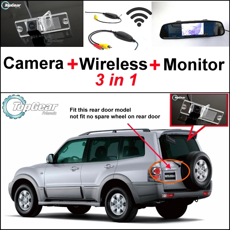 3 in1 Special Rear View Camera + Wireless Receiver + Mirror Monitor DIY Parking System For Mitsubishi Pajero Pajero Super Exceed 3 in1 special rear view camera wireless receiver mirror monitor back up parking system for honda jazz 5d 2002 2013