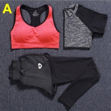New Women's Gym Clothes Yoga 3 Piece Sets T-shirt+Bra Vests+Pants Running Sport Suit Tight Training Leggings Fitness Sportswear