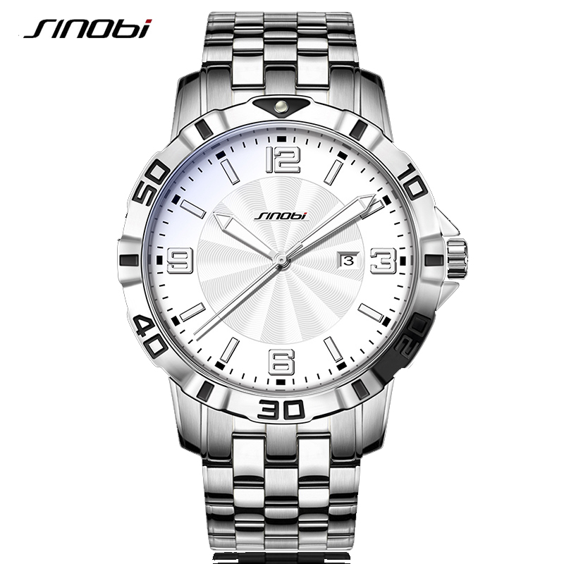 SINOBI Men's Watches Top Brand Luxury Quartz Wrist Watch Male Clock Steel relogio masculino Business Mens Wristwatch Clocks 2018 new fashion men business quartz watches top brand luxury curren mens wrist watch full steel man square watch male clocks relogio