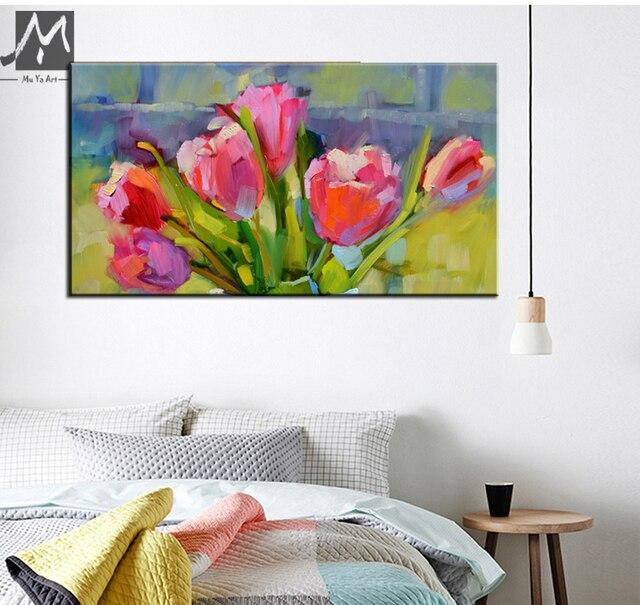 Quadri famosi dipinti di arte astratta pittura di fiori rosa tulip ...