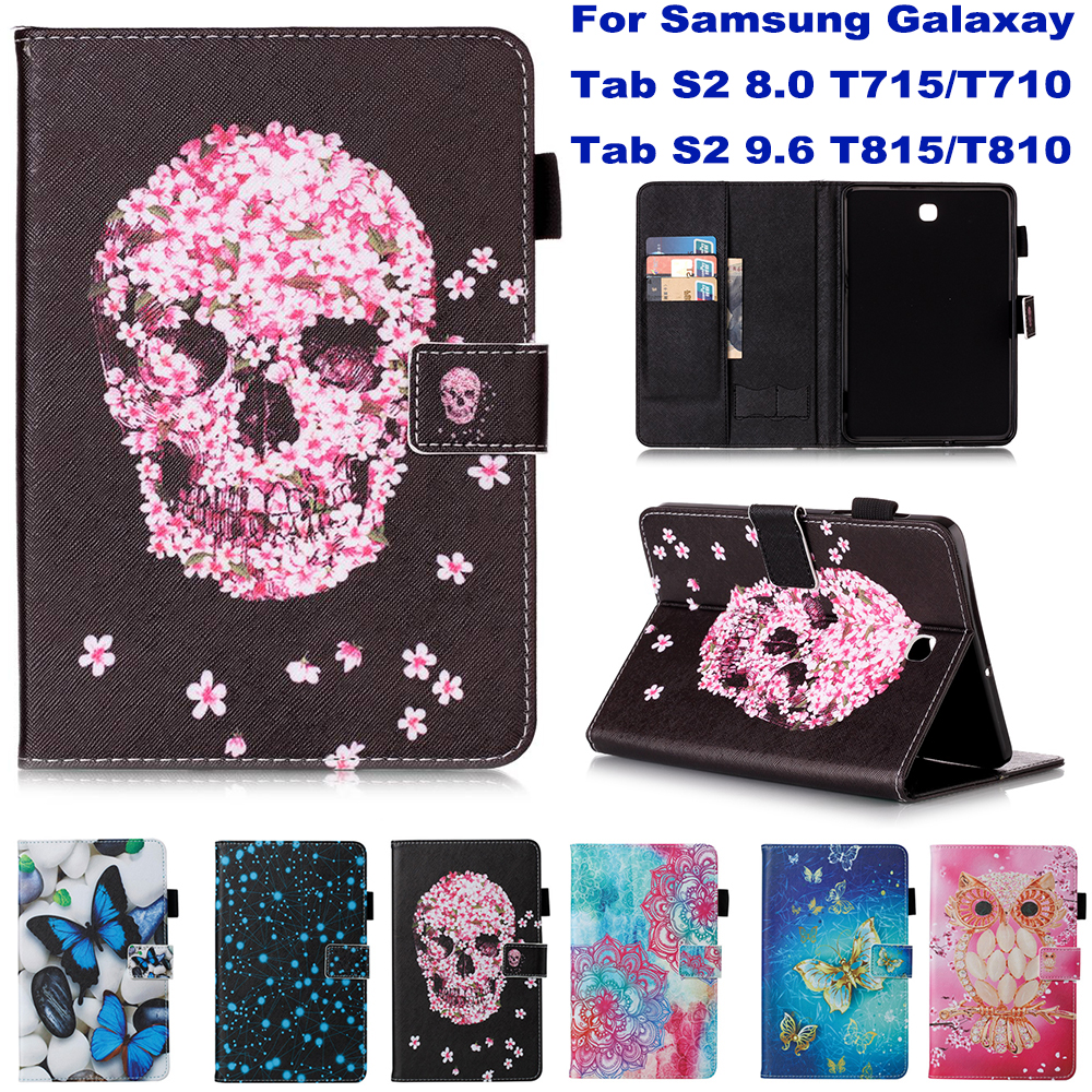 Stand Wallet Card Slot Case For Samsung Galaxy Tab S2 8.0 T715 T710 9.6 T815 T810 Case Funda Tablet Fashion Pattern Skull Shell