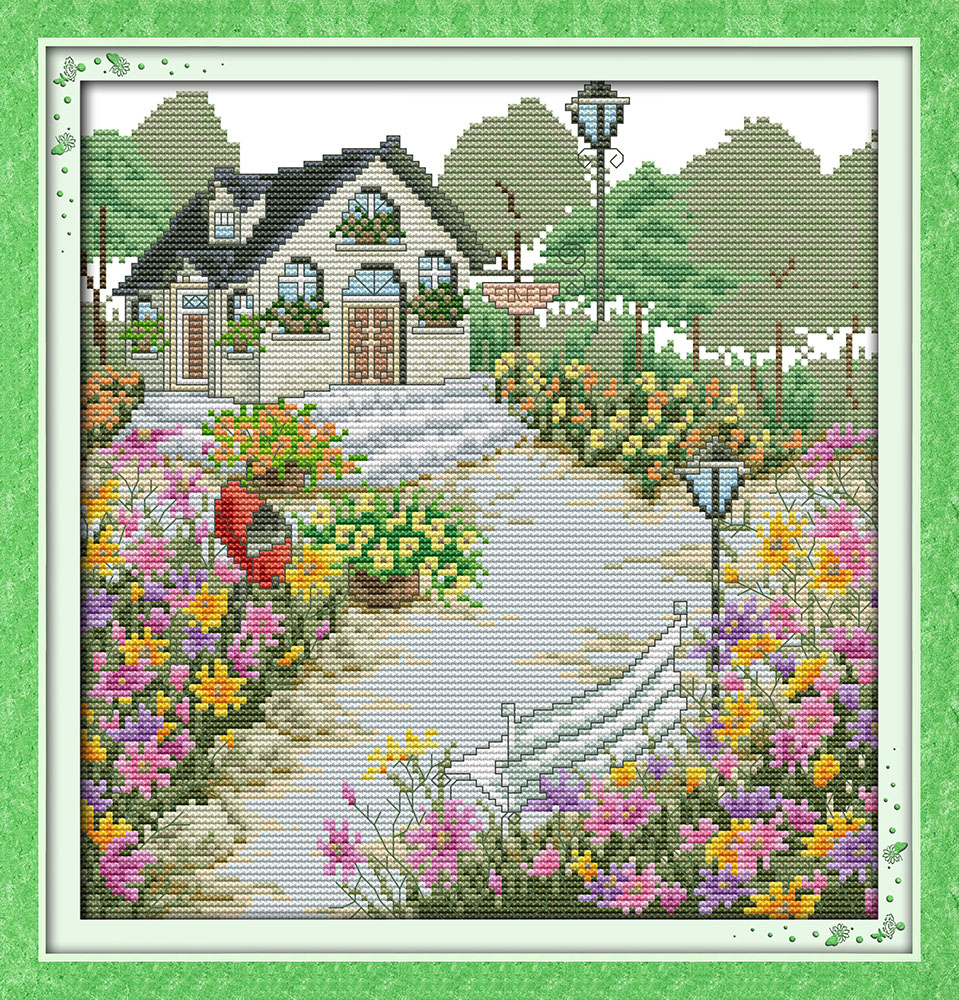 A rustic cottage (4), counted printed on fabric DMC 14CT 11CT Cross ...