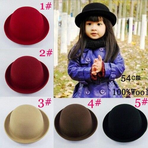 Bnaturalwell Hot Little girls fedora hat Dome cap Children dress hats Kids caps felt hats wool felting Bowler hat BH176D