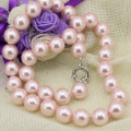 Fashion pink simulated-pearl shell round beads 12mm choker necklace statement women chain collars charms jewelry 18inch B3215