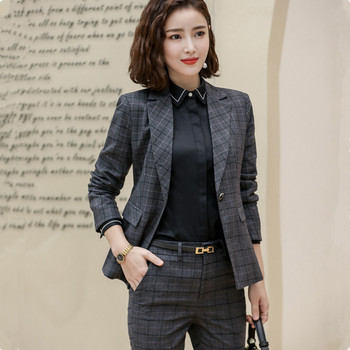 2019 New fashion Plaid Slim pants suits OL professional Business plus size long sleeve blazer and Trousers office lady work wear 1