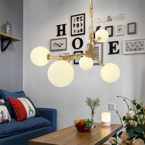 Image 3 - Nordic LED Chandeliers Glass Lighting Minimalist Molecular Chandeliers for Living Room Bedroom Bar Restaurant Lighting