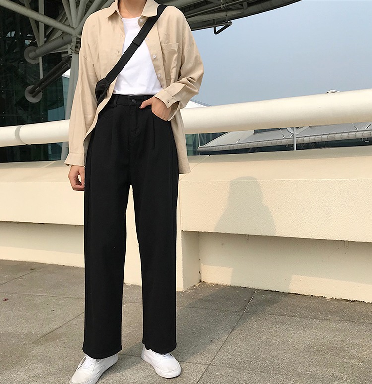 Jeans Women Loose High Waist Leisure Full-length Wide Leg Jean All-match Korean Style Simple Womens Trendy Harajuku Daily Chic