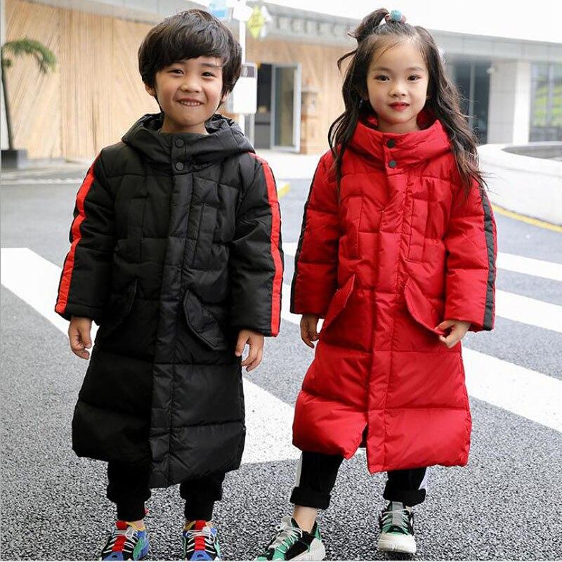 Winter Kids Down Jacket Thickening White Duck Down Warm Coat Girls Boys Hooded Long Parkas Children Down Jacket For Teenage стоимость