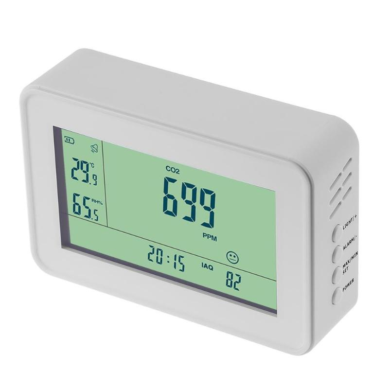 Carbon Dioxide Sensor Detector CO2 Monitor Alarm Temperature Humidity Meter Tester Clock Alarm Display Thermometer Hygrometer