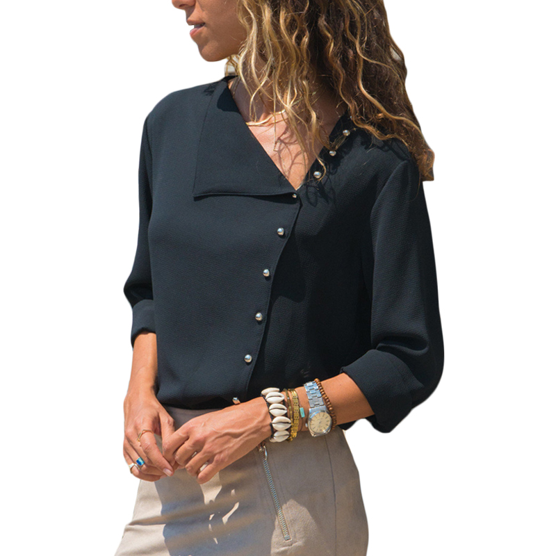Women's Chiffon Lapel Button Irregular Solid Color Long Sleeve   Blouse     Shirt