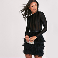 wholesale 2019 New dress Black And white Long sleeves feather Net yarn perspective Sexy Cocktail party bandage dress (H2046)