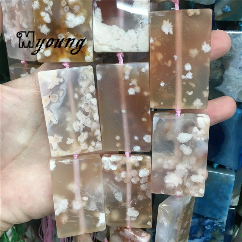 New Arrival Rectangle Green Cherry Agates Stone Slice Beads, Nature Stone Slab Pendant Beads MY2100