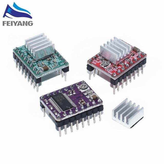 100PCS 3D מדפסת חלקי Reprap A4988 DRV8825 צעד מנוע נהג מודול עם צלעות קירור Stepstick DRV8825 תואם StepStick