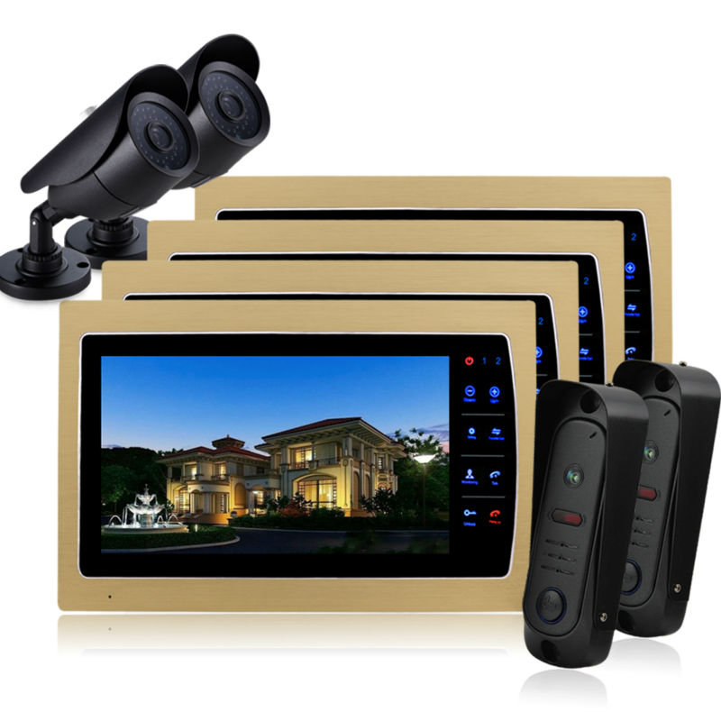 Homefong 10 Inch LCD Night Vision Home Video Door Phone Camera Intercom Doorphone Doorbell System CMOS camera golden monitor 7inch video door phone intercom system for 10apartment tft lcd screen 10 flat indoor monitor night vision cmos outdoor camera