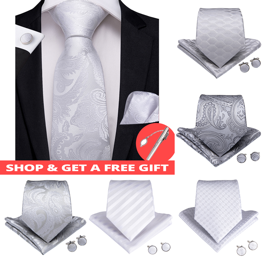 DiBanGu Luxury 8 Styles White Floral Men Gift Tie Clip 100% Silk Silver Ties Hanky Cufflinks Tie Wedding Business Party Tie Set