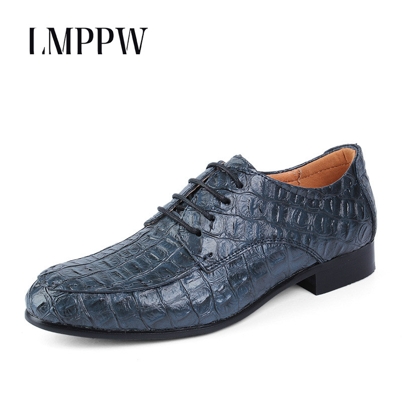 High Quality Mens Business Casual Shoes Breathable Lace Up Crocodile Pattern Leather Oxford Shoes Big Size Men Flats Mocassins