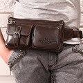 Alto Qualtiy Zurriago Hombres del Cuero Genuino Fanny Riñonera Monedero Bum Caja Del Teléfono Celular de la Correa de la cadera Bolso Masculino Viajes Sling Bag Pecho