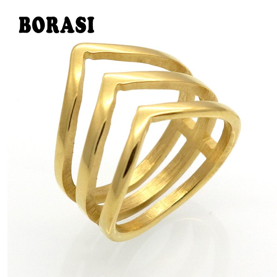 7dfe956966 Venta de la promoción borasi moda anillo de oro color joyas de acero  inoxidable moda tres V forma anillo de diseño para las mujeres