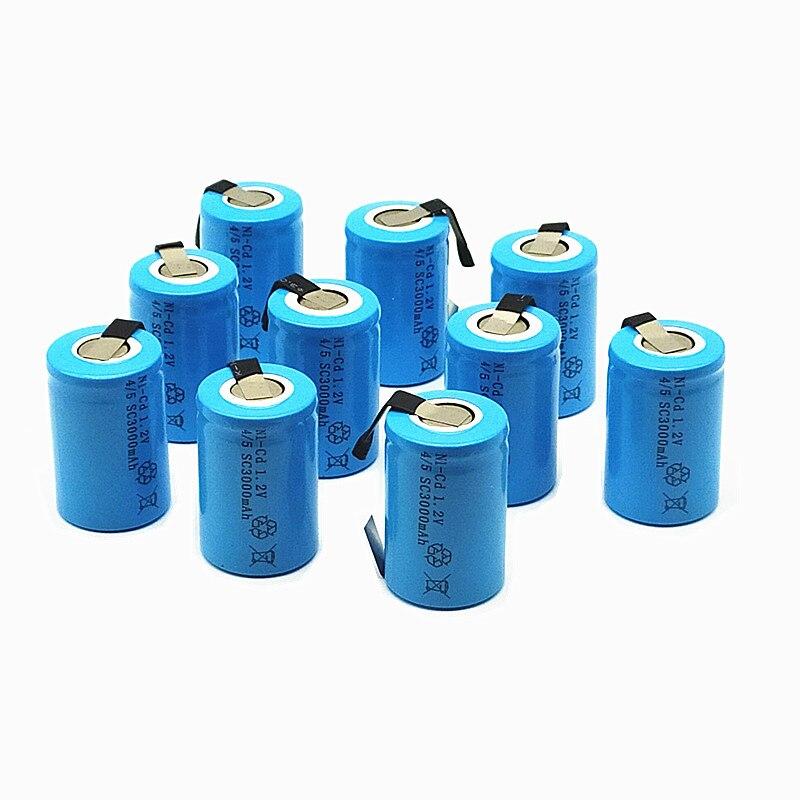 15 pièces 4/5 SC batterie de haute qualité batterie rechargeable sous c batterie de remplacement 1.2 v avec tab 3000 mah