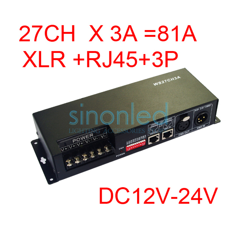 27CH dmx512 decoder, controller,LED drive,with case, 9 group RGB each channel max 3A,DC12-24V output,for LED, XLR & RJ45 & 3P 24ch 24channel easy dmx512 dmx decoder led dimmer controller dc5v 24v each channel max 3a 8 groups rgb controller iron case