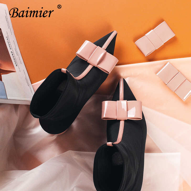 Baimier Pink Bowtie Stretch Fabric Women Sock Boots Pointed Toe Mixed Color Ankle Boots For Women Fashion High Heel Women Boots