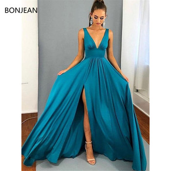 2019 Fashion Elegant Prom Dresses A Line V Neck Blue Long Off Shoulder Floor Length Chiffon Long Sleeveless Evening Formal Dress