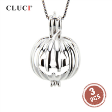 CLUCI 3pcs Silver น่ากลัวฟักทองจี้สำหรับฮาโลวีน 925 เงินสเตอร์ลิงเพิร์ล Locket จี้ SC114SB