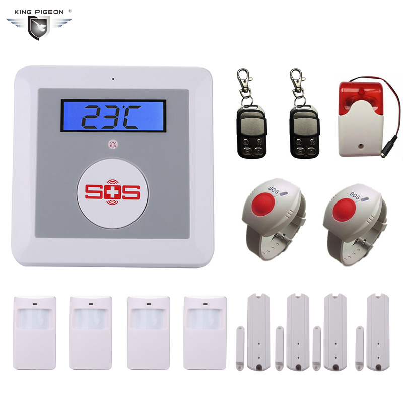 Wireless GSM Alarm System For Home Security with PIR/Door Sensor SOS Panic Button Siren Alarm Muli-language DHL Free Ship K3E 2 receivers 60 buzzers wireless restaurant buzzer caller table call calling button waiter pager system