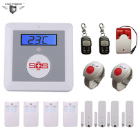 Wireless GSM Alarm System For Home Security with PIR/Door Sensor SOS Panic Button Siren Alarm Muli language DHL Free Ship K3E