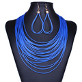 Multi Layer Necklace Set Earrings for Women Vinatge Bohemian Jewelry Sets Gold Plated Multilayer Leather Jewelry Set Blue