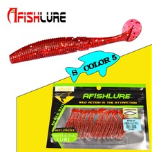 Soft Worm 150pcs/lot Afishlure Paddle Tail soft lure 50mm 1g T Tail  Worms Lure Fishing Bass Sea fishing Bait Plastic Maggot