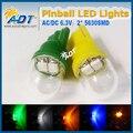 100units SS 5630SMD Pinball LED Lamp 6.3 V 194 555 t10 #555