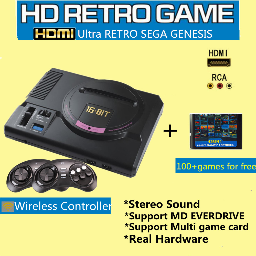 16BIT HDMI Video Game Console SEGA Genesis 126in1 free games High definition with 2 4G wireless controller Real Hardware stereo