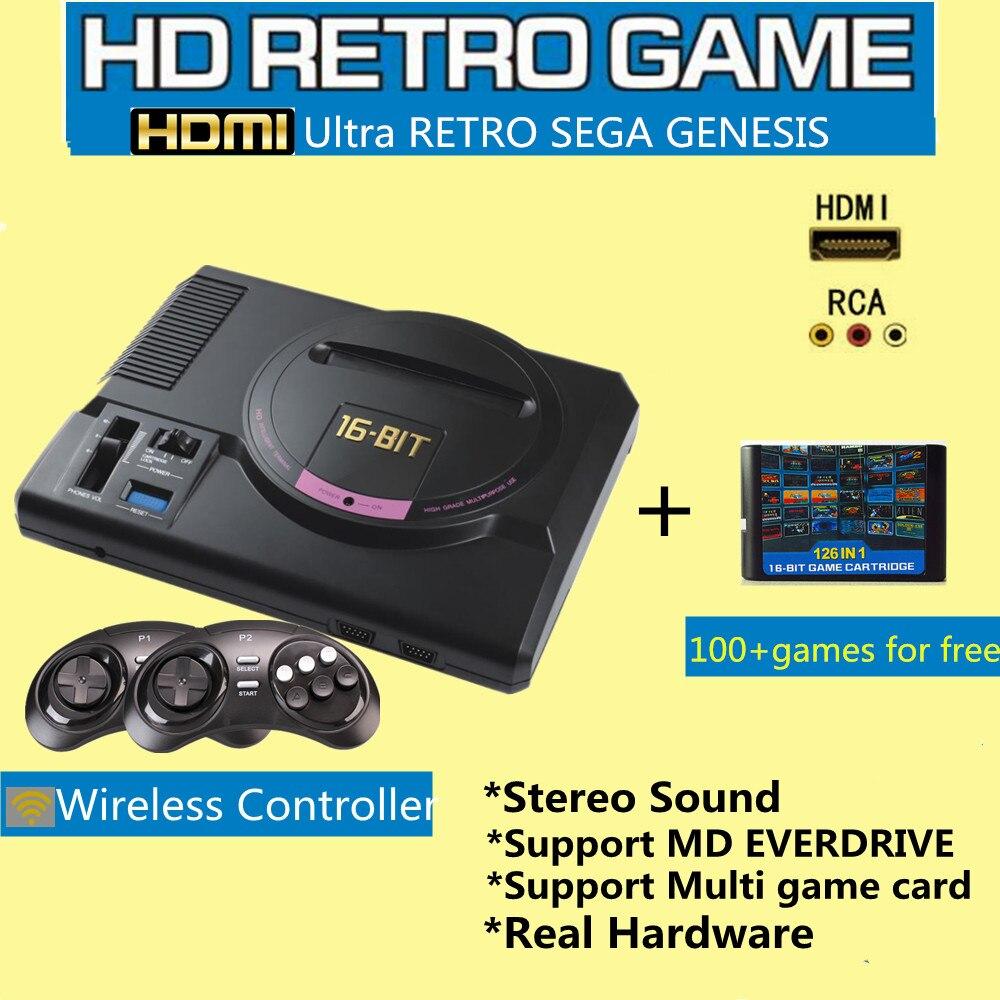 16bit Hdmi Video Spielkonsole Sega Genesis 126in1 Freies Spiele High Definition Mit 2,4g Wireless Controller Echt Hardware Stereo Dauerhaft Im Einsatz