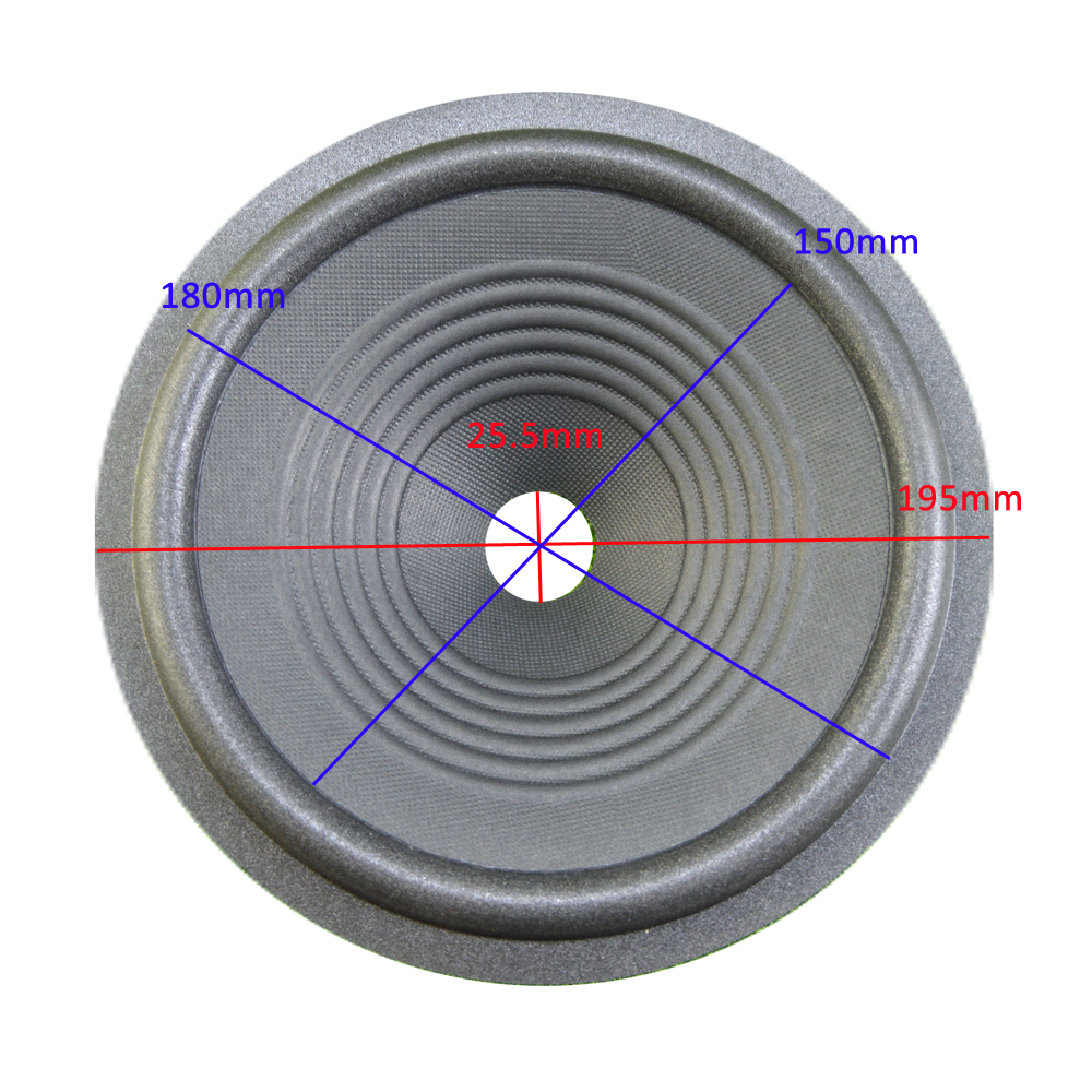 8 Inch Loudspeaker Paper Cone (195mm*180mm*150mm*25.5mm) 45mm Height With Foam Edge Speaker Woofer Paper Cone