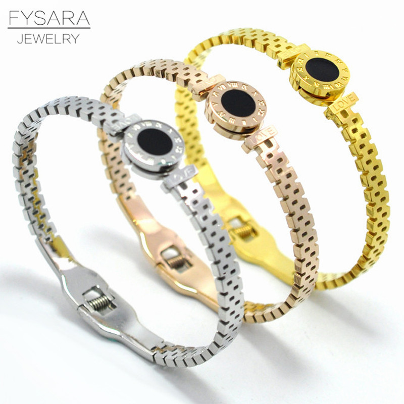 FYSARA Roman Numeral Belt Bracelets & Bangles for Women Wristhand Rose Gold Color Circles Cuff Bracelets Classic Brand Jewelry