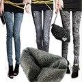 Alta Elástica Outono Inverno Jeans Buraco Plissada Prints Faux Denim Impresso Moda Mais Grossa de Veludo Mulheres de Slim Leggings tamanho Grande