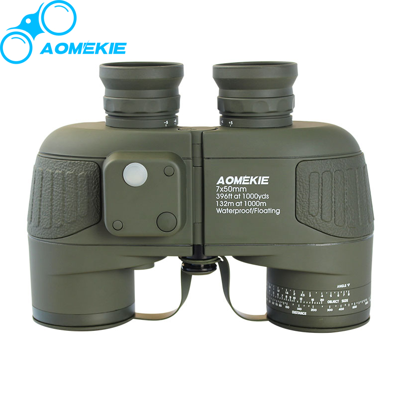 AOMEKIE HD 7X50 Military Marine Binoculars for Hunting Boating BAK4 Rangefinder Compass Telescope Nitrogen Waterproof Army Green бинокль bushnell 7x50 marine compass 137500