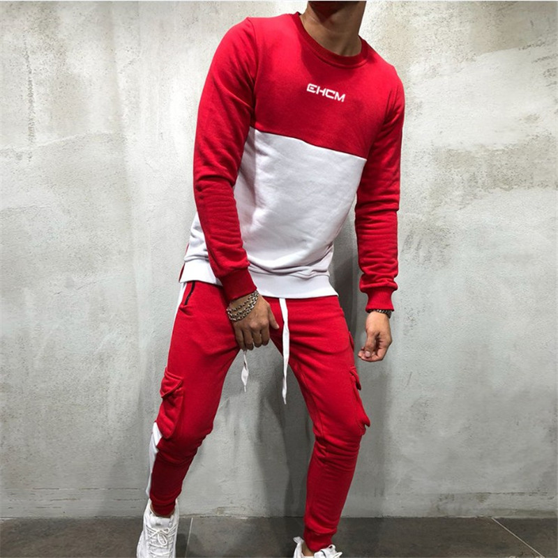 Fall 2019 New Men Casual Sports suit Gyms fitness Long sleeved t shirt and multi-pocket Pants 3 Color set Sell like hot cakes