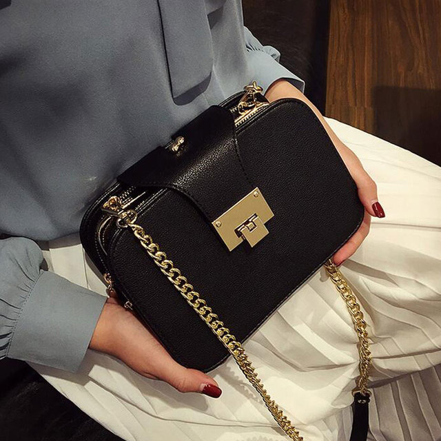 f3c64e4c7e01 2018 Summer New Fashion Women Shoulder Bag Chain Strap Flap Messenger Bags  Designer Handbags Clutch Bag With Metal Buckle L522-in Shoulder Bags from  Luggage ...