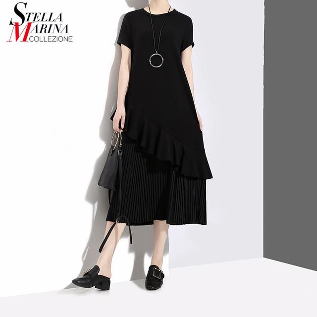 2018 Summer Women Long Black Army Pleated Dress With Ruffles Short-Sleeve O Neck Girls Stylish Female Elegant Dress Styles 3596