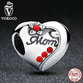 Authentic 925 Sterling Silver MOM Red Heart Charms fit Pandora Bracelets & Bangles Gift For Mother C004
