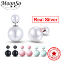 Moonso 2016 925 Sterling Silver Double Sided Faced Stud Earrings Earings for Women Brincos Simulated Pearl Jewelry E1401
