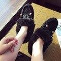 Hot Sale Women Flats Elegant Bowknot Girls Slip-On Loafers Thermal Warm Autumn Winter Shoes Black/Khaki