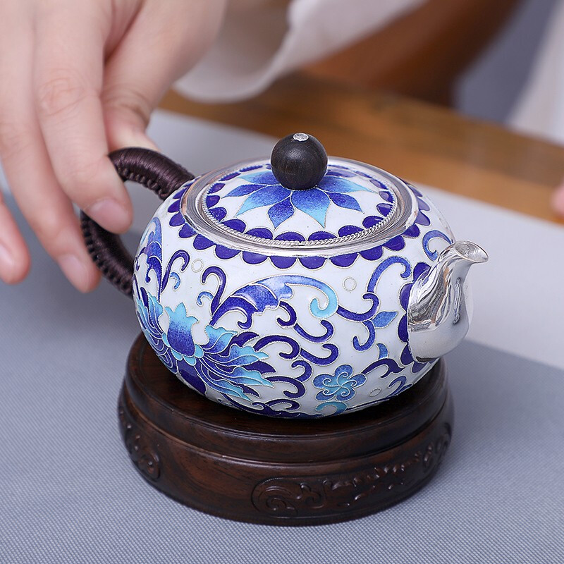 Butterfly Flowers 999 Silver Teapot Pure Handmade Cloisonne Silver  Teapot Household Small Silver Pot Collect Gifts