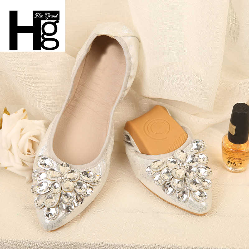 HEE GRAND 2018 New Women Flower Flats Slip PU Casual Shoes Round Toe Student Flat Shoes Glitter Crystal Woman Plus Size XWD6745