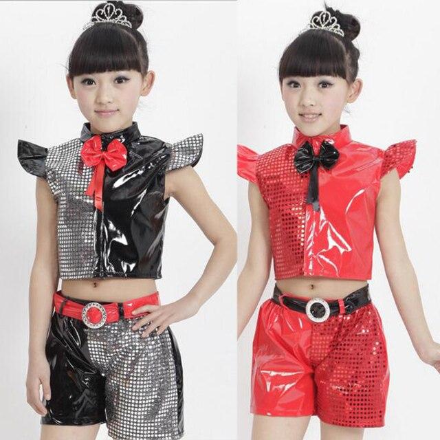 18c4673ee657b Niñas Jazz dancewear traje Tops + Pantalones niños moderno lentejuelas  etapa Salón danza baile negro ropa