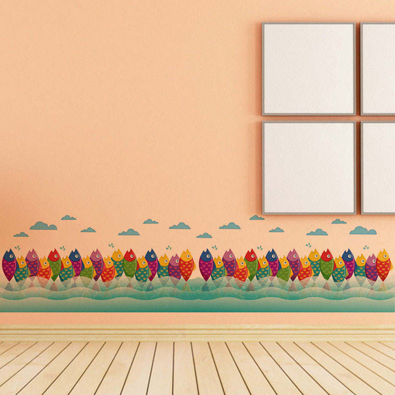 Cartoon Colorful Fishes Skirting Line Wall Stickers Home Decor Pool ...